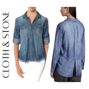 CLOTH & STONE Distressed / Frayed Denim Shirt, S